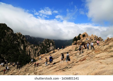 Sokcho-si, Gangwon-do, Korea - August 16, 2019: Tourists are on Gwongeumseong Castle on top of Seoraksan Mt. During the Silla era, two generals with the names of Gwon and Geum(Kim) built the castle