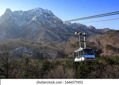 Sokcho-si, Gangwon-do, Korea - February 1, 2020: Cable car connecting Seorak-dong and Gwongeumseong Castle on top of Seoraksan Mt.