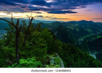 Sokolica peak in Pieniny mountains, Poland