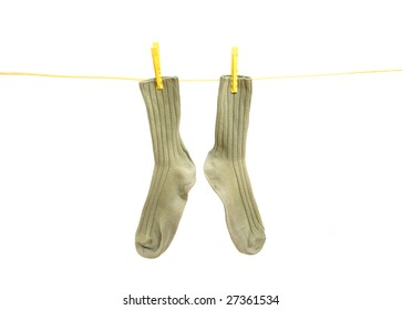 soks  on clothes line