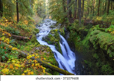 Sol Duc waterfall in rainforest at Olympic National Park, Oregon Coast