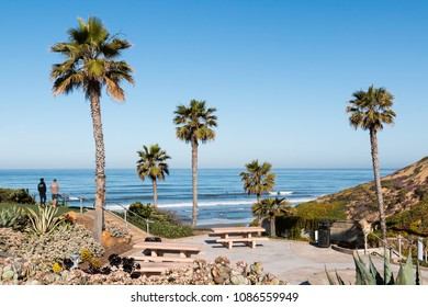SOLANA BEACH, CALIFORNIA/USA - APRIL 22, 2018:  People enjoy a view of the ocean at scenic Fletcher Cove Beach Park in San Diego County.
