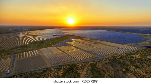Solar solar aerial photography before sunrise