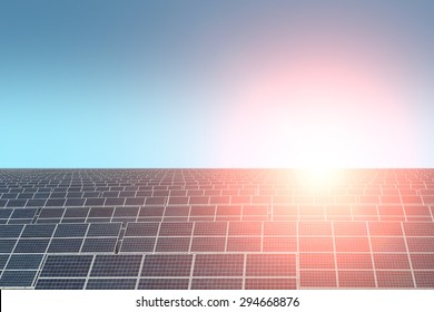 Solar battery with highlight on clear blue sky background copyspace, horizontal picture