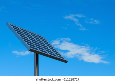 Solar battery on blue sky background. An alternative source of energy.