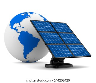 solar battery on white background. Isolated 3d image