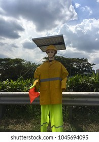 A solar battery operated traffic control being use to replace a real manpower