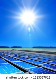 solar cell array in the field, renewable energy