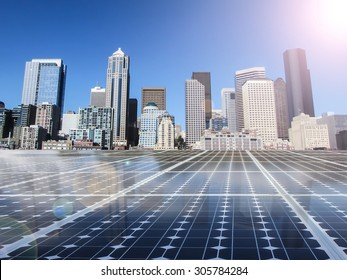 solar cell energy grid technology in city  background