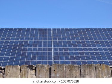 solar cell on roof with ble sky