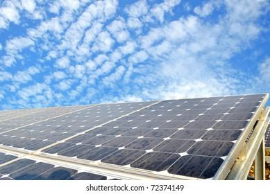 Solar cell over the blue sky