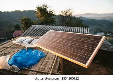 Solar cell panel in the Akha village of Maejantai on the hill in Chiangmai, Thailand.