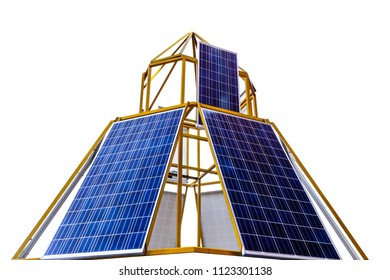 Solar cell panel isolated on white background. Copy Space for text or objects. Concepts of Alternative Energy and safe world safe earth.