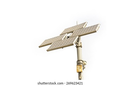 Solar cell panel tower isolated on white background