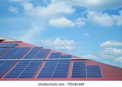Solar cell panels on the roof.