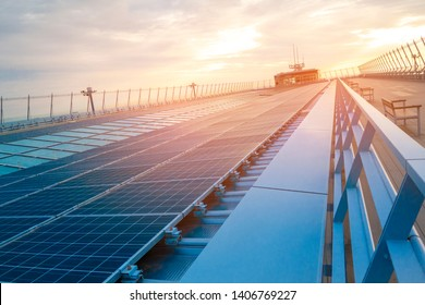 solar cell panels on rooftop , Save energy concept