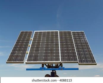 Solar cell panels over blue sky