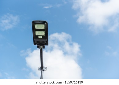Solar cell smart street lamp with blue sky background in day time,Street light in park,Lamp park.