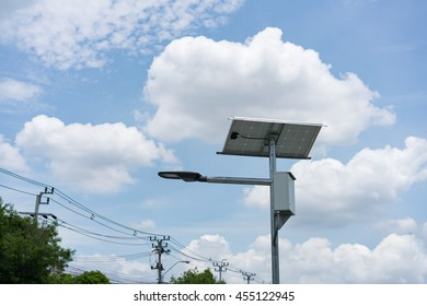 solar cell street lamp in blue sky using for technology nature ecology power.