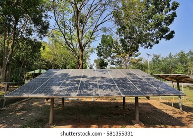Solar cell under the trees with shading from trees