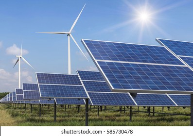 solar cell and wind turbines generating electricity in  power station alternative energy from nature  Ecology concept.