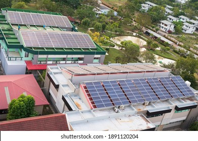 Solar cells farm on the roof.Solar panels backgroundPhotovoltaic modules for renewable energy.Save the earth and the energy with good environment concept.