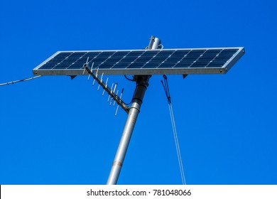 Solar cells isolated on blue sky background