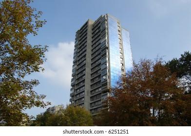 Solar cells on apartment building in Bern, Switzerland