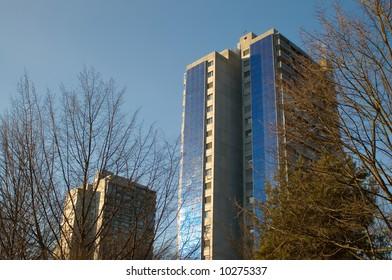 Solar cells on large building in Bern, Switzerland
