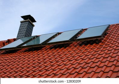 solar cells on a roof top
