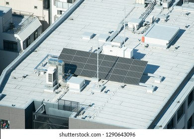 Solar cells on the roof top of building