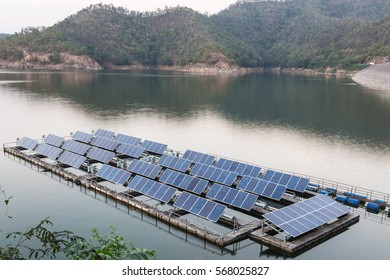 solar cells panels installed on the station in the dams thailand