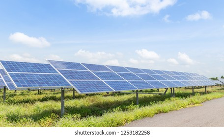 solar cells or photovoltaics in solar energy station convert light energy from the sun into electricity alternative renewable clean energy from the sun