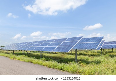 solar cells or photovoltaics in solar power station convert light energy from the sun into electricity alternative renewable clean energy from the sun