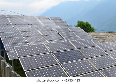 Solar cells power with cloudy in Ghandruk village , Nepal