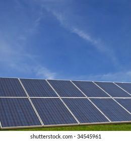 Solar cells with a radiant blue sky