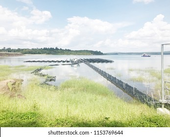 Solar cells sharted Buoyancy in water ,blue sky