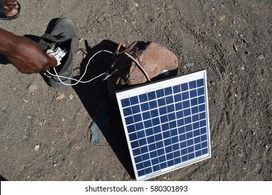 Solar charger in the desert