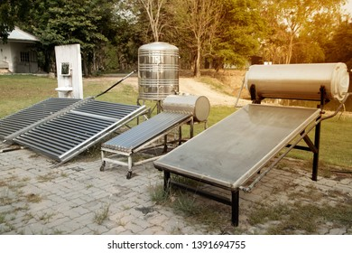 Solar Collector with Flat Plate Collector and Evacuum Tube Collector electricity source is a concept of sustainable resources and save environment.
