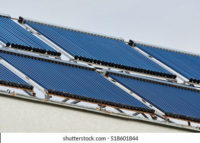 Solar collector. Green technology. Vacuum solar collectors solar water heating system. Technology whose use is intended to mitigate or reverse the effects of human activity on the environment.