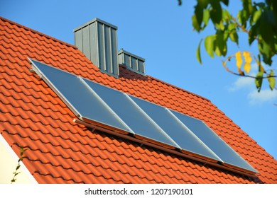 Solar Collector, mounted at the Roof of a residential Building