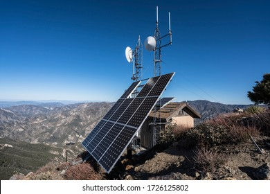 Solar communication towers on top of Josephine Peak in the San Gabriel Mountains and Angeles National Forest in Southern California.