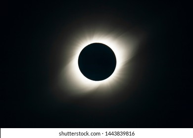 The Solar Corona atmosphere layer during Total Solar Eclipse Chile 2019, amazing view of the Sun covered by the Moon during totality phase while the Moon covers the entire Sun an awesome phenomenom