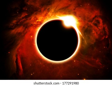 Solar Eclipse Above a Nebula- Elements of this image furnished by NASA