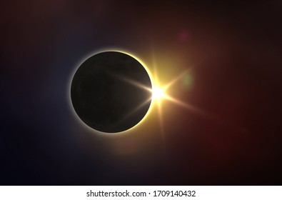 Solar Eclipse and colorful space. Solar eclipse, mysterious natural phenomenon when Moon passes between planet Earth and Sun. Elements of this image furnished by NASA.