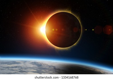 Solar Eclipse and Earth. Solar eclipse, mysterious natural phenomenon when Moon passes between planet Earth and Sun. Elements of this image furnished by NASA.