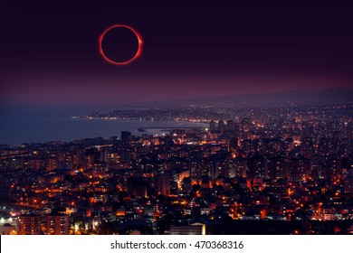 """Solar eclipse """"Elements of this image furnished by NASA"""