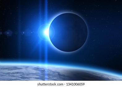 Solar Eclipse, Moon and Earth. Solar eclipse, mysterious natural phenomenon when Moon passes between planet Earth and Sun. Elements of this image furnished by NASA.