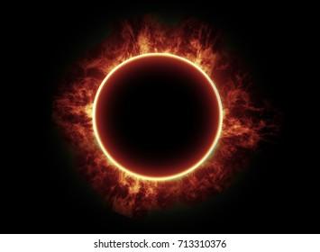 Solar eclipse on black background, digital illustration