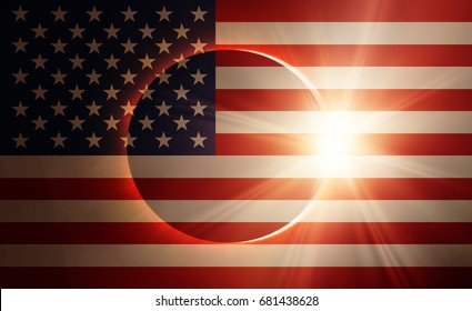 """Solar Eclipse with USA flag """"Elements of this image furnished by NASA """""""